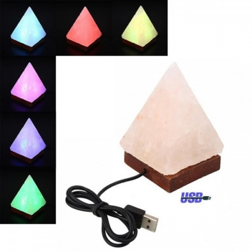 Lampada led USB a PIRAMIDE di sale rosa